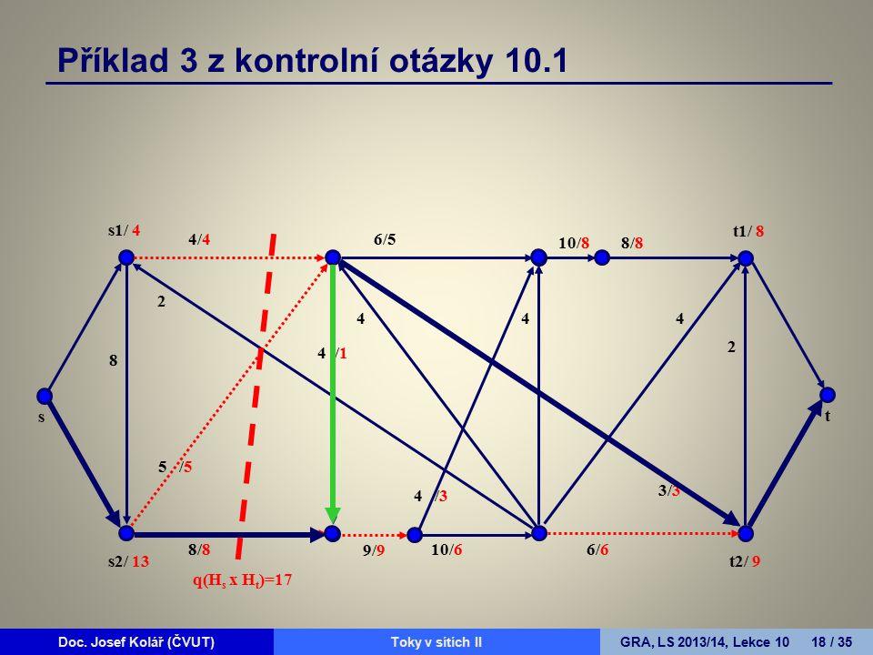 Doc. Josef Kolář (ČVUT)Prohledávání grafůGRA, LS 2010/11, Lekce 4 18 / 15Doc. Josef Kolář (ČVUT)Toky v sítích IIGRA, LS 2013/14, Lekce 10 18 / 35 4/4
