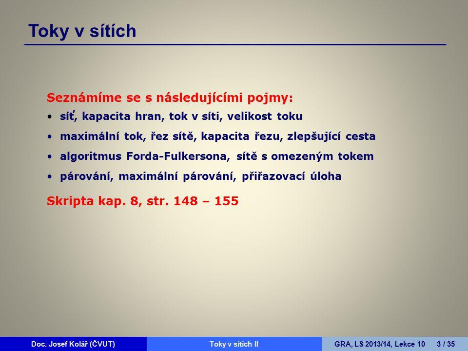 Doc. Josef Kolář (ČVUT)Prohledávání grafůGRA, LS 2010/11, Lekce 4 3 / 15Doc. Josef Kolář (ČVUT)Toky v sítích IIGRA, LS 2013/14, Lekce 10 3 / 35 Toky v