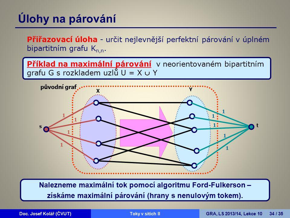 Doc. Josef Kolář (ČVUT)Prohledávání grafůGRA, LS 2010/11, Lekce 4 34 / 15Doc. Josef Kolář (ČVUT)Toky v sítích IIGRA, LS 2013/14, Lekce 10 34 / 35 Přiř