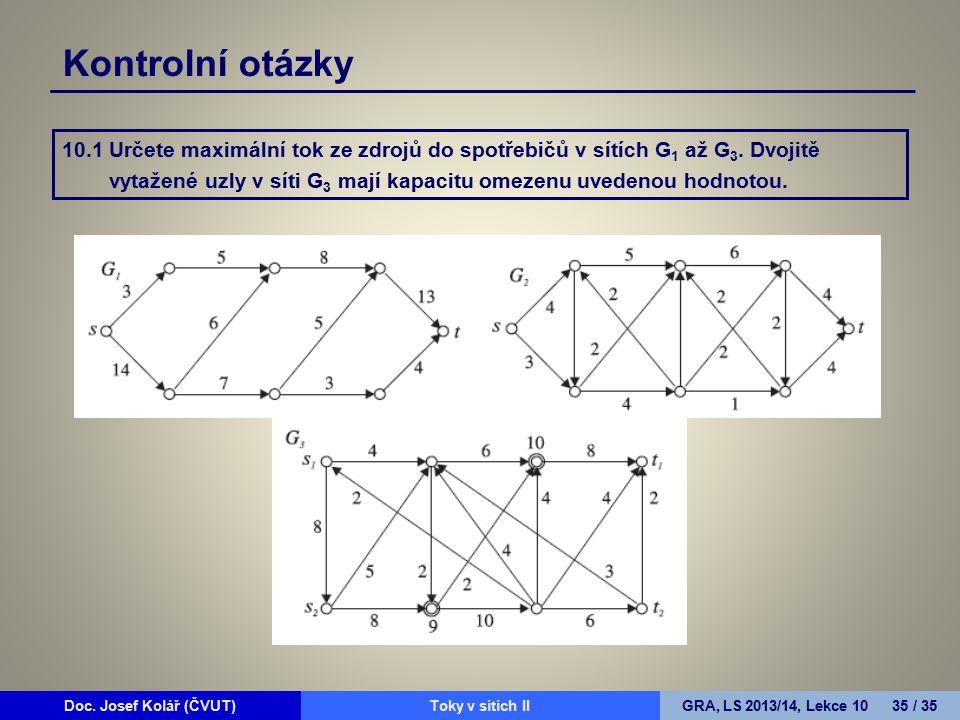 Doc. Josef Kolář (ČVUT)Prohledávání grafůGRA, LS 2010/11, Lekce 4 35 / 15Doc. Josef Kolář (ČVUT)Toky v sítích IIGRA, LS 2013/14, Lekce 10 35 / 35 Kont
