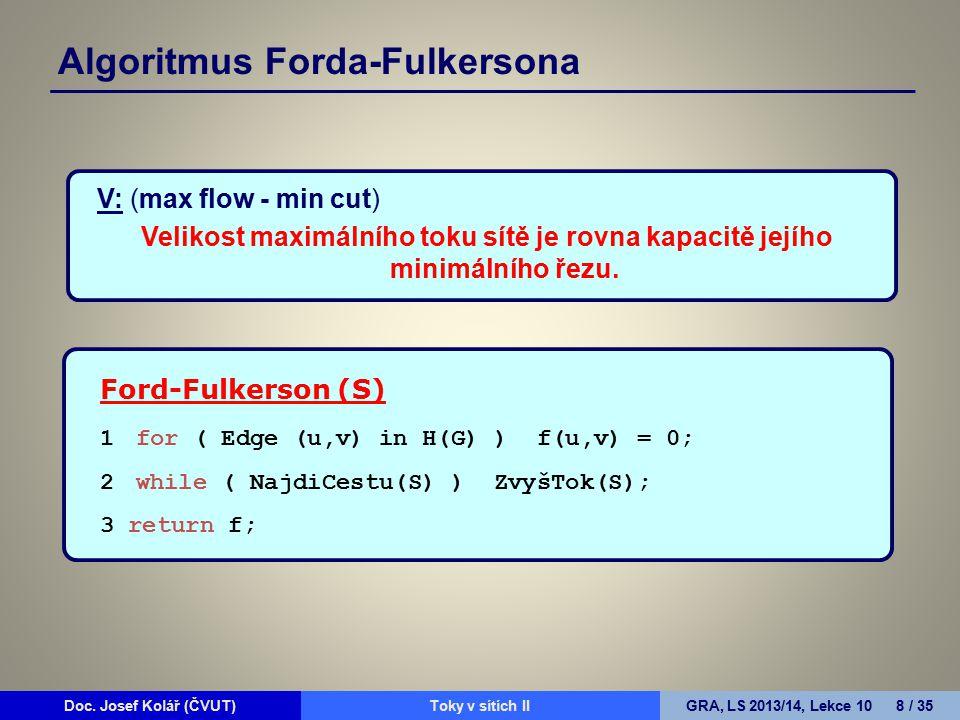 Doc. Josef Kolář (ČVUT)Prohledávání grafůGRA, LS 2010/11, Lekce 4 8 / 15Doc. Josef Kolář (ČVUT)Toky v sítích IIGRA, LS 2013/14, Lekce 10 8 / 35 Algori