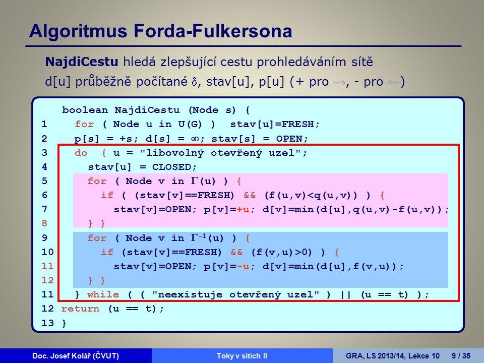 Doc. Josef Kolář (ČVUT)Prohledávání grafůGRA, LS 2010/11, Lekce 4 9 / 15Doc. Josef Kolář (ČVUT)Toky v sítích IIGRA, LS 2013/14, Lekce 10 9 / 35 boolea