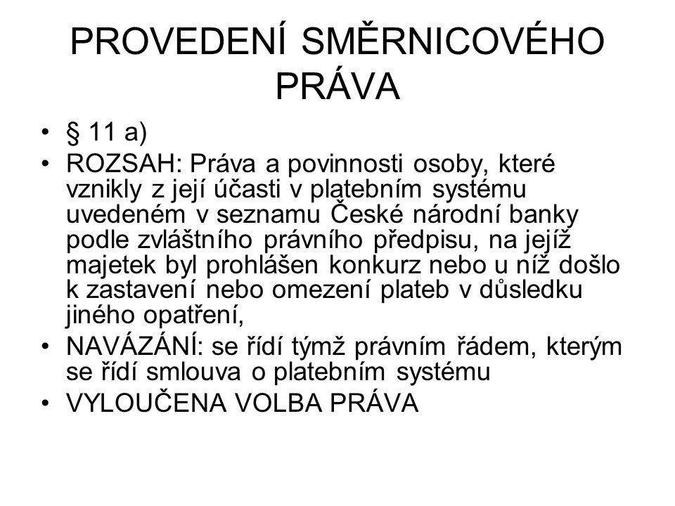 PROVEDENÍ SMĚRNICOVÉHO PRÁVA § 11 a) ROZSAH: Práva a povinnosti osoby, které vznikly z její účasti v platebním systému uvedeném v seznamu České národn