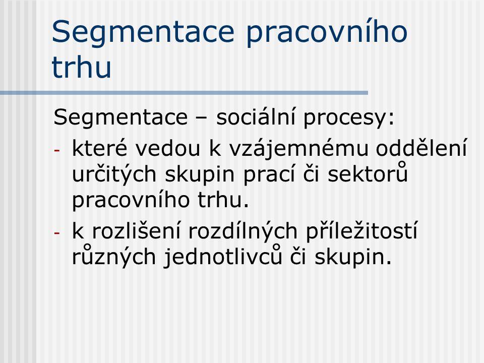Segmentace pracovního trhu Segmentace – sociální procesy: - které vedou k vzájemnému oddělení určitých skupin prací či sektorů pracovního trhu.