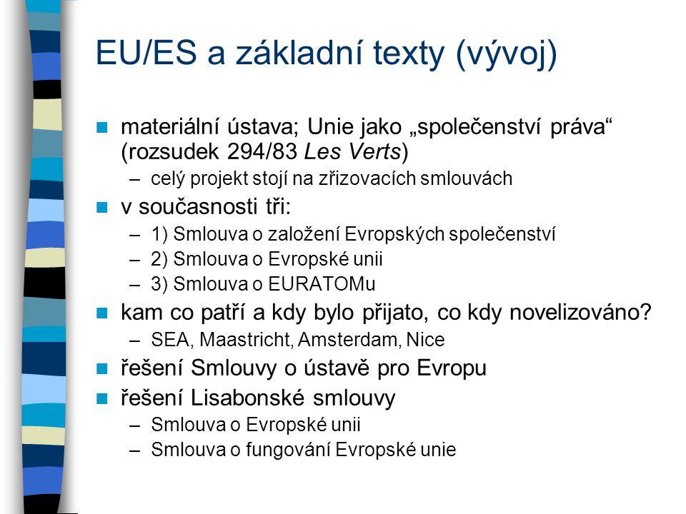 """EU/ES a základní texty (vývoj) materiální ústava; Unie jako """"společenství práva (rozsudek 294/83 Les Verts) –celý projekt stojí na zřizovacích smlouvách v současnosti tři: –1) Smlouva o založení Evropských společenství –2) Smlouva o Evropské unii –3) Smlouva o EURATOMu kam co patří a kdy bylo přijato, co kdy novelizováno."""
