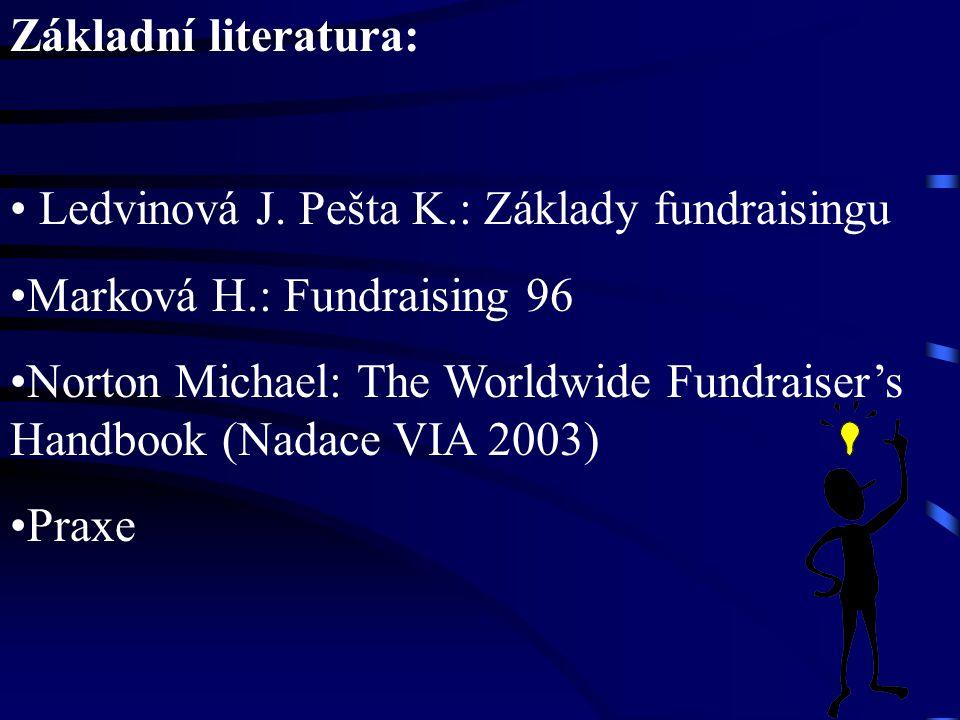 Základní literatura: Ledvinová J. Pešta K.: Základy fundraisingu Marková H.: Fundraising 96 Norton Michael: The Worldwide Fundraiser's Handbook (Nadac