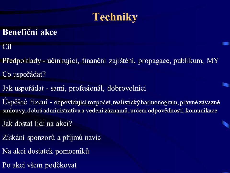Techniky Benefiční akce Cíl Předpoklady - účinkující, finanční zajištění, propagace, publikum, MY Co uspořádat? Jak uspořádat - sami, profesionál, dob