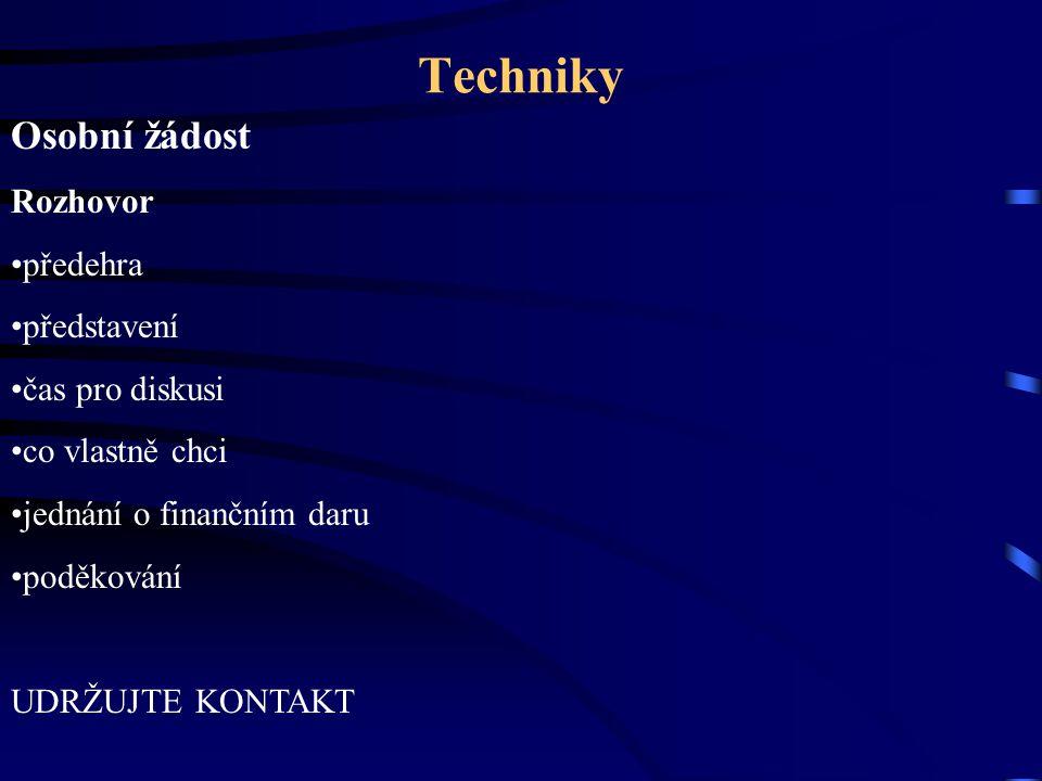 Techniky Osobní žádost Rozhovor předehra představení čas pro diskusi co vlastně chci jednání o finančním daru poděkování UDRŽUJTE KONTAKT