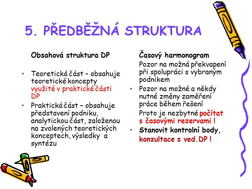 5. PŘEDBĚŽNÁ STRUKTURA Obsahová struktura DP Teoretická část – obsahuje teoretické koncepty využité v praktické části DP Praktická část – obsahuje pře