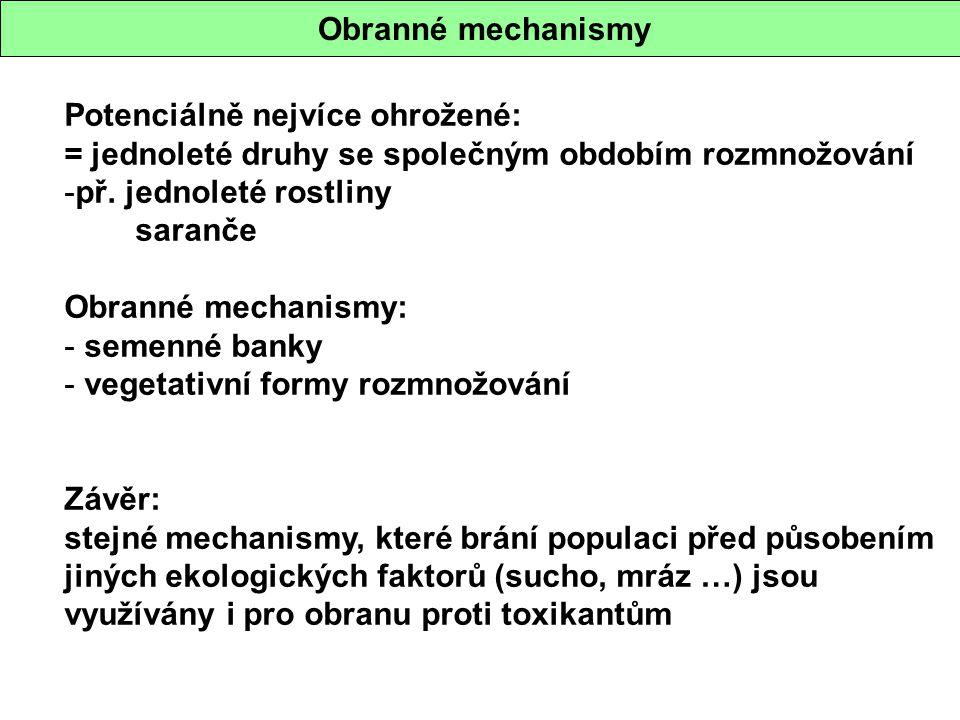 Obranné mechanismy Potenciálně nejvíce ohrožené: = jednoleté druhy se společným obdobím rozmnožování -př. jednoleté rostliny saranče Obranné mechanism