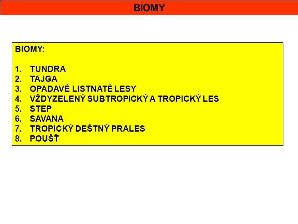 BIOMY BIOMY: 1.TUNDRA 2.TAJGA 3.OPADAVÉ LISTNATÉ LESY 4.VŽDYZELENÝ SUBTROPICKÝ A TROPICKÝ LES 5.STEP 6.SAVANA 7.TROPICKÝ DEŠTNÝ PRALES 8.POUŠŤ