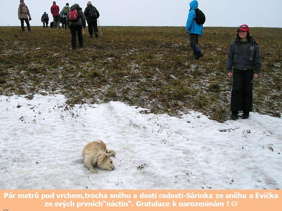 """Pár metrů pod vrchem,trocha sněhu a dosti radosti-Sárinka ze sněhu a Evička ze svých prvních""""náctin"""". Gratulace k narozeninám !"""