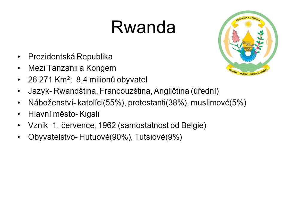Rwanda Prezidentská Republika Mezi Tanzanii a Kongem 26 271 Km 2 ; 8,4 milionů obyvatel Jazyk- Rwandština, Francouzština, Angličtina (úřední) Náboženství- katolíci(55%), protestanti(38%), muslimové(5%) Hlavní město- Kigali Vznik- 1.