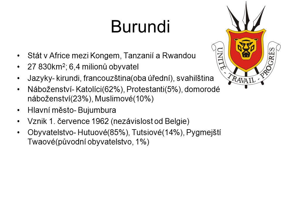 Burundi Stát v Africe mezi Kongem, Tanzanií a Rwandou 27 830km 2 ; 6,4 milionů obyvatel Jazyky- kirundi, francouzština(oba úřední), svahilština Náboženství- Katolíci(62%), Protestanti(5%), domorodé náboženství(23%), Muslimové(10%) Hlavní město- Bujumbura Vznik 1.