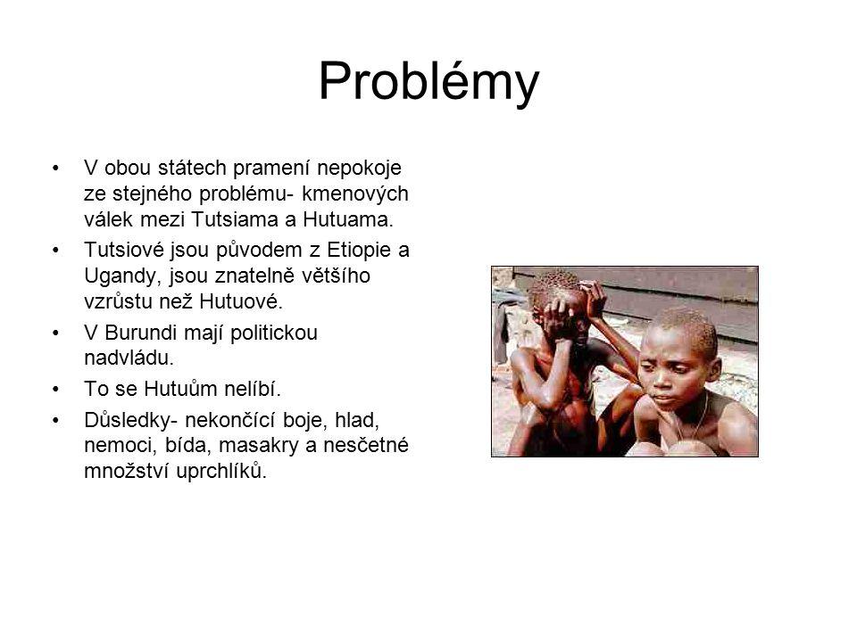 Problémy V obou státech pramení nepokoje ze stejného problému- kmenových válek mezi Tutsiama a Hutuama.