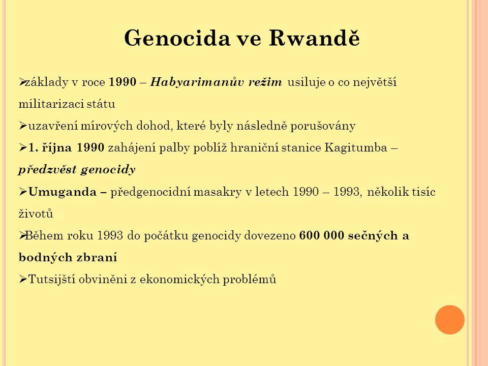 Genocida ve Rwandě  základy v roce 1990 – Habyarimanův režim usiluje o co největší militarizaci státu  uzavření mírových dohod, které byly následně