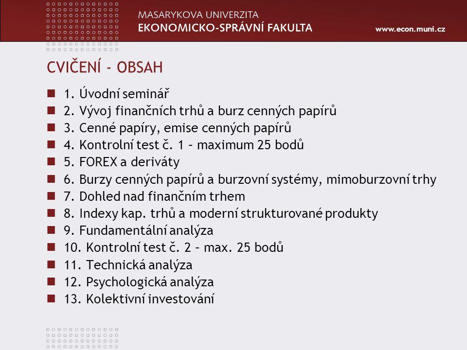 www.econ.muni.cz CVIČENÍ - OBSAH 1.Úvodní seminář 2.