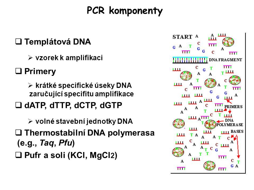 PCR komponenty  Templátová DNA  vzorek k amplifikaci  Primery  krátké specifické úseky DNA zaručující specifitu amplifikace  dATP, dTTP, dCTP, dGTP  volné stavební jednotky DNA  Thermostabilní DNA polymerasa (e.g., Taq, Pfu)  Pufr a soli (KCl, MgCl 2 )