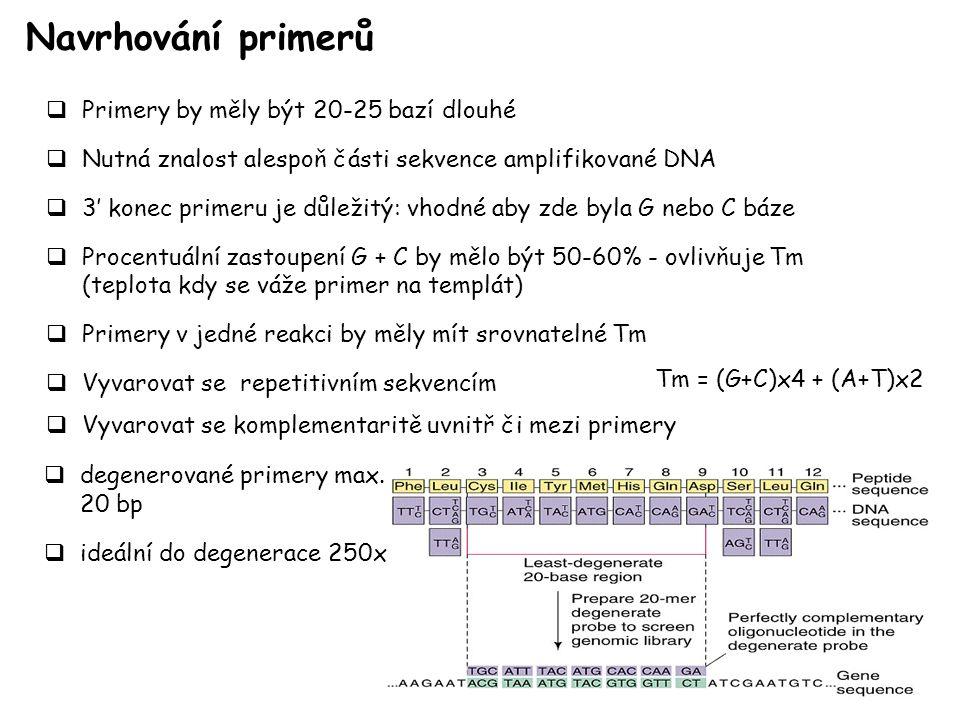 Navrhování primerů  Primery by měly být 20-25 bazí dlouhé  Nutná znalost alespoň části sekvence amplifikované DNA  3' konec primeru je důležitý: vhodné aby zde byla G nebo C báze  Procentuální zastoupení G + C by mělo být 50-60% - ovlivňuje Tm (teplota kdy se váže primer na templát)  Primery v jedné reakci by měly mít srovnatelné Tm  Vyvarovat se repetitivním sekvencím  Vyvarovat se komplementaritě uvnitř či mezi primery Tm = (G+C)x4 + (A+T)x2  degenerované primery max.