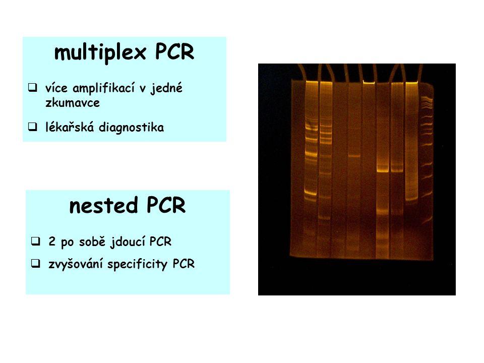 multiplex PCR  více amplifikací v jedné zkumavce  lékařská diagnostika nested PCR  2 po sobě jdoucí PCR  zvyšování specificity PCR