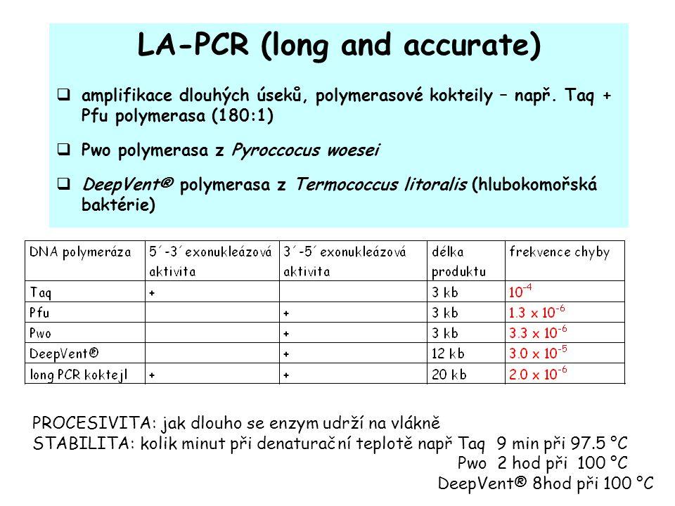 LA-PCR (long and accurate)  amplifikace dlouhých úseků, polymerasové kokteily – např.