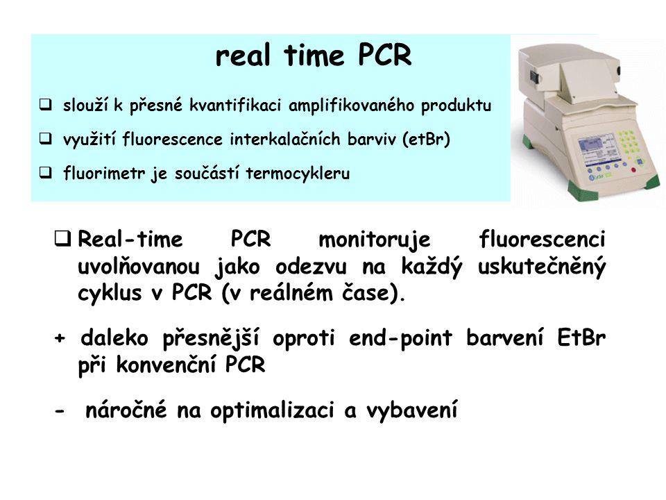 real time PCR  slouží k přesné kvantifikaci amplifikovaného produktu  využití fluorescence interkalačních barviv (etBr)  fluorimetr je součástí termocykleru  Real-time PCR monitoruje fluorescenci uvolňovanou jako odezvu na každý uskutečněný cyklus v PCR (v reálném čase).