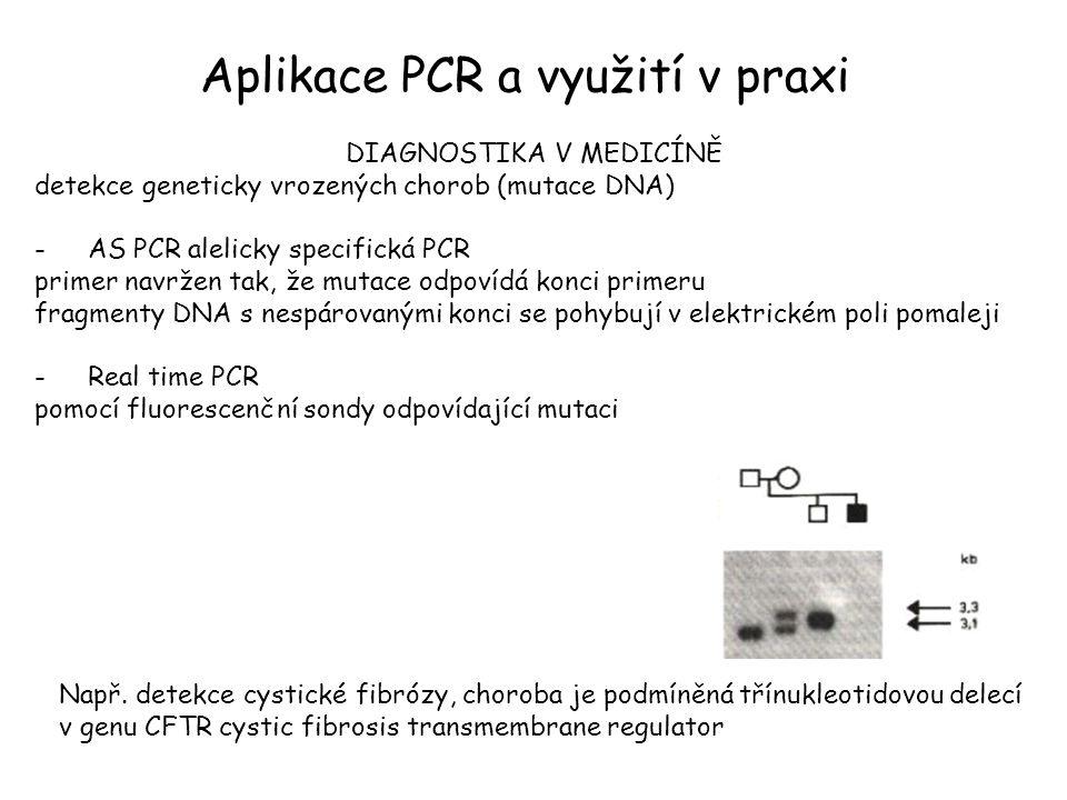Aplikace PCR a využití v praxi DIAGNOSTIKA V MEDICÍNĚ detekce geneticky vrozených chorob (mutace DNA) -AS PCR alelicky specifická PCR primer navržen tak, že mutace odpovídá konci primeru fragmenty DNA s nespárovanými konci se pohybují v elektrickém poli pomaleji -Real time PCR pomocí fluorescenční sondy odpovídající mutaci Např.