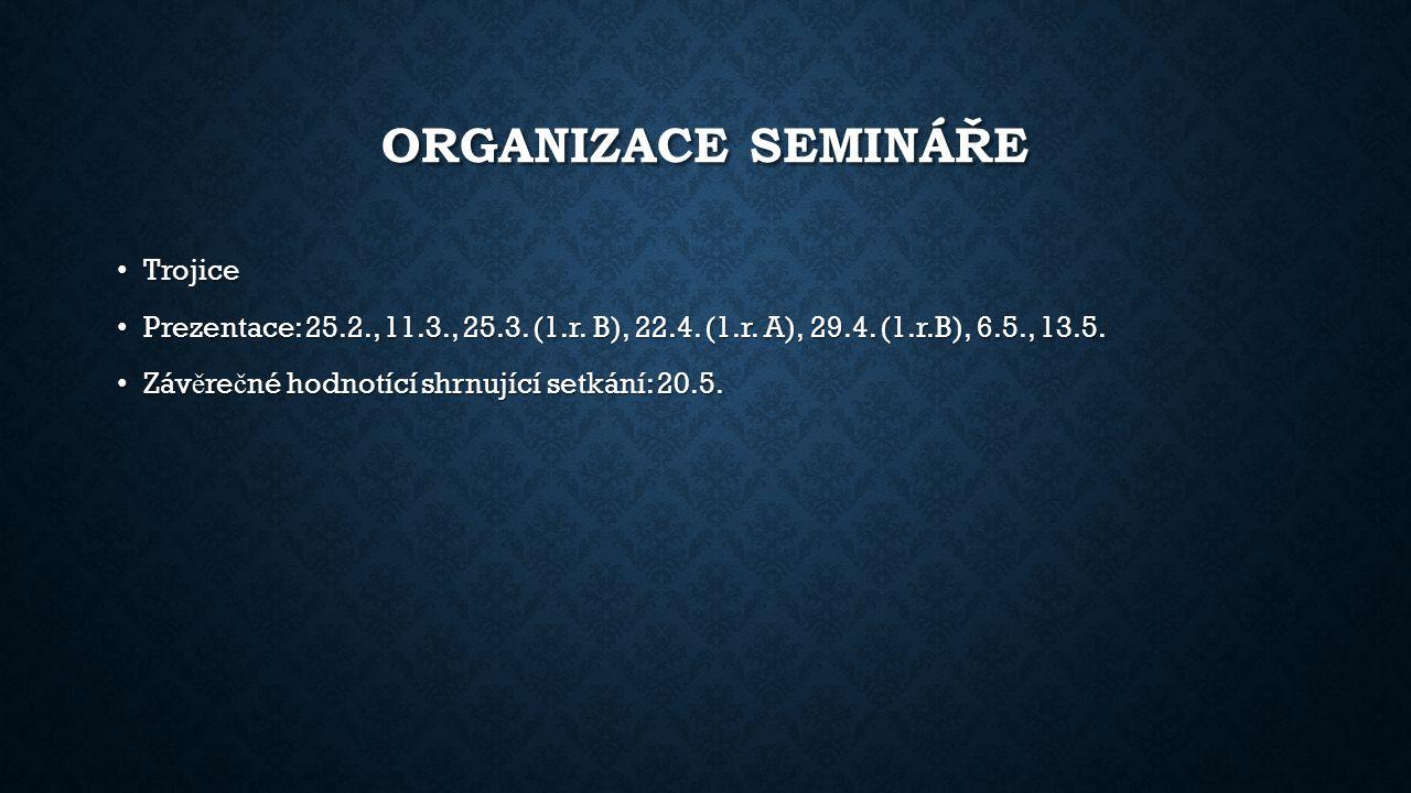 ORGANIZACE SEMINÁŘE Trojice Trojice Prezentace: 25.2., 11.3., 25.3. (1.r. B), 22.4. (1.r. A), 29.4. (1.r.B), 6.5., 13.5. Prezentace: 25.2., 11.3., 25.
