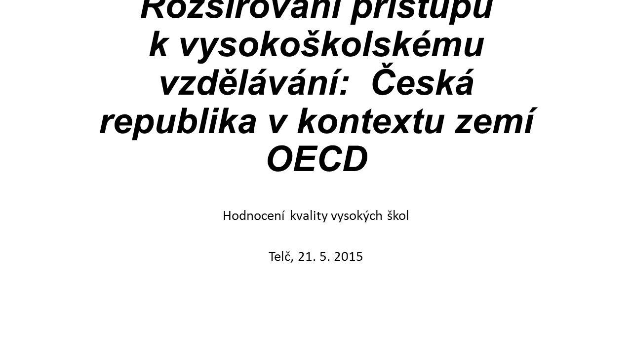 Rozšiřování přístupu k vysokoškolskému vzdělávání: Česká republika v kontextu zemí OECD Hodnocení kvality vysokých škol Telč, 21.