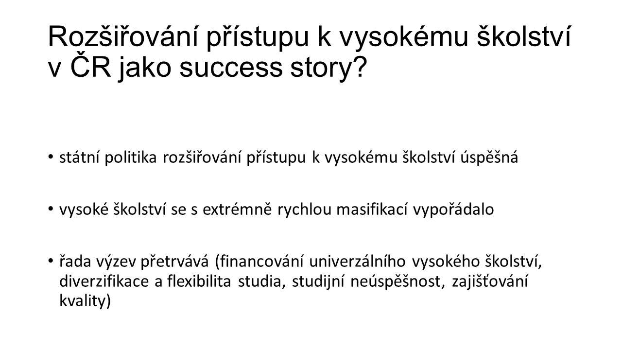 Rozšiřování přístupu k vysokému školství v ČR jako success story.