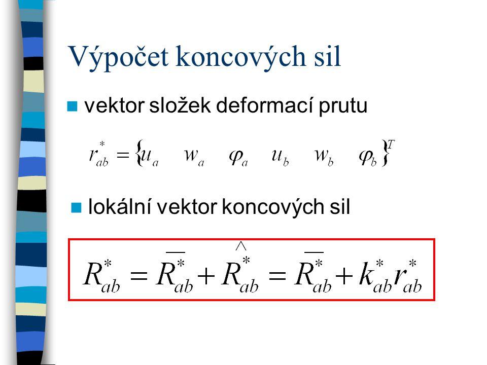 Výpočet koncových sil vektor složek deformací prutu lokální vektor koncových sil