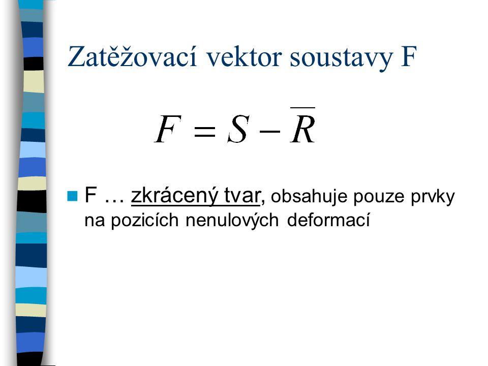 Zatěžovací vektor soustavy F F … zkrácený tvar, obsahuje pouze prvky na pozicích nenulových deformací