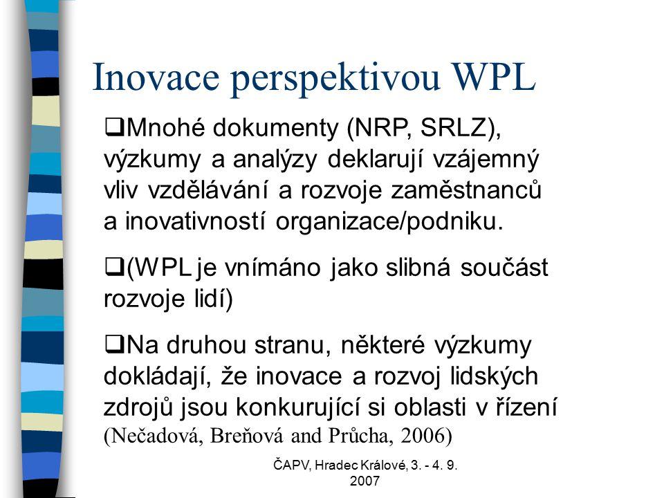 ČAPV, Hradec Králové, 3. - 4. 9. 2007 Inovace perspektivou WPL  Mnohé dokumenty (NRP, SRLZ), výzkumy a analýzy deklarují vzájemný vliv vzdělávání a r