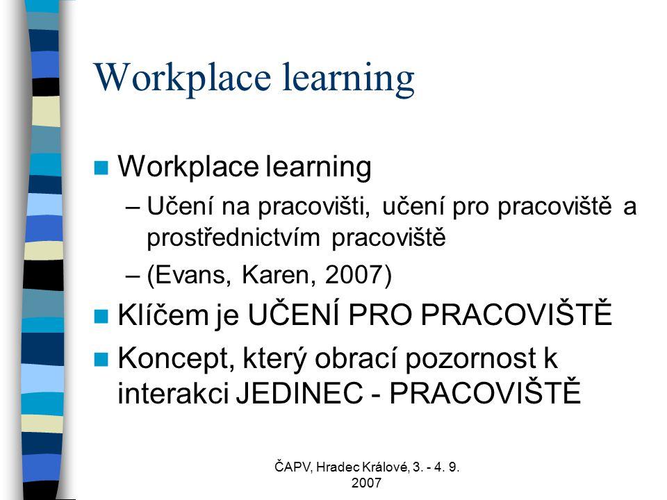 ČAPV, Hradec Králové, 3. - 4. 9. 2007 Workplace learning –Učení na pracovišti, učení pro pracoviště a prostřednictvím pracoviště –(Evans, Karen, 2007)