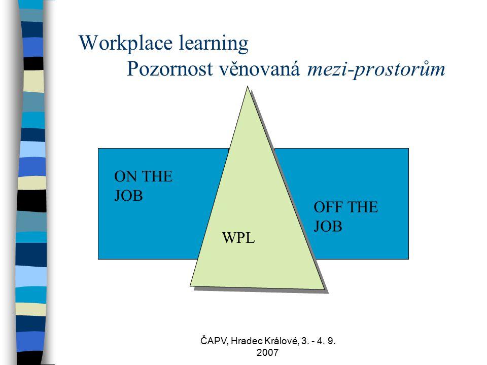 ČAPV, Hradec Králové, 3. - 4. 9. 2007 Workplace learning Pozornost věnovaná mezi-prostorům ON THE JOB OFF THE JOB WPL
