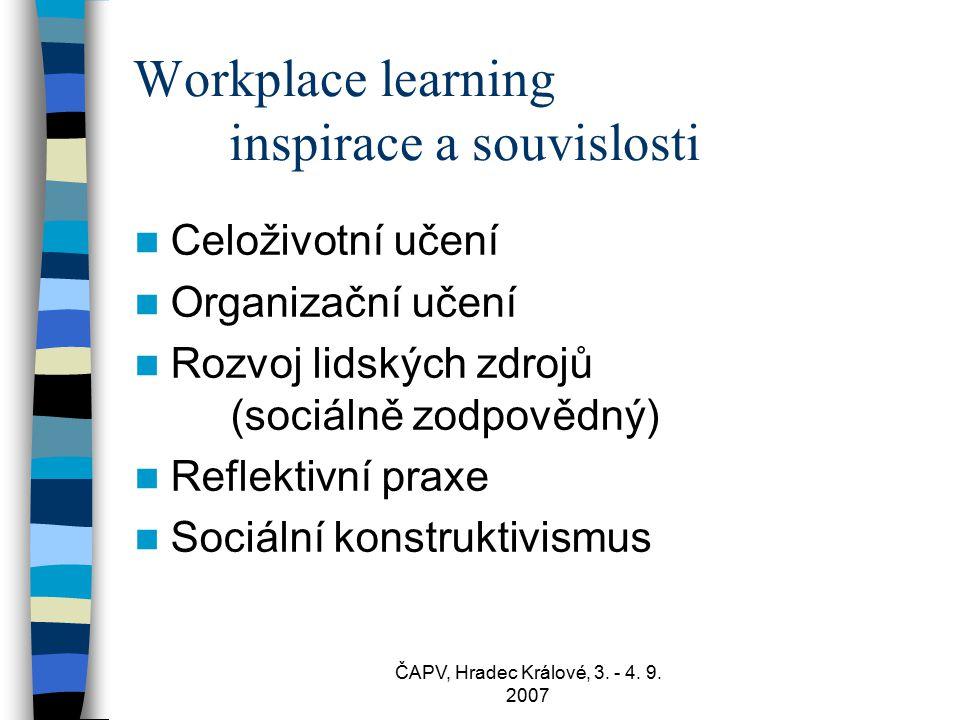 ČAPV, Hradec Králové, 3. - 4. 9. 2007 Workplace learning inspirace a souvislosti Celoživotní učení Organizační učení Rozvoj lidských zdrojů (sociálně