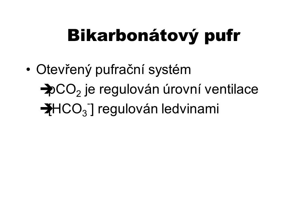 Otevřený pufrační systém  pCO 2 je regulován úrovní ventilace  [HCO 3 - ] regulován ledvinami