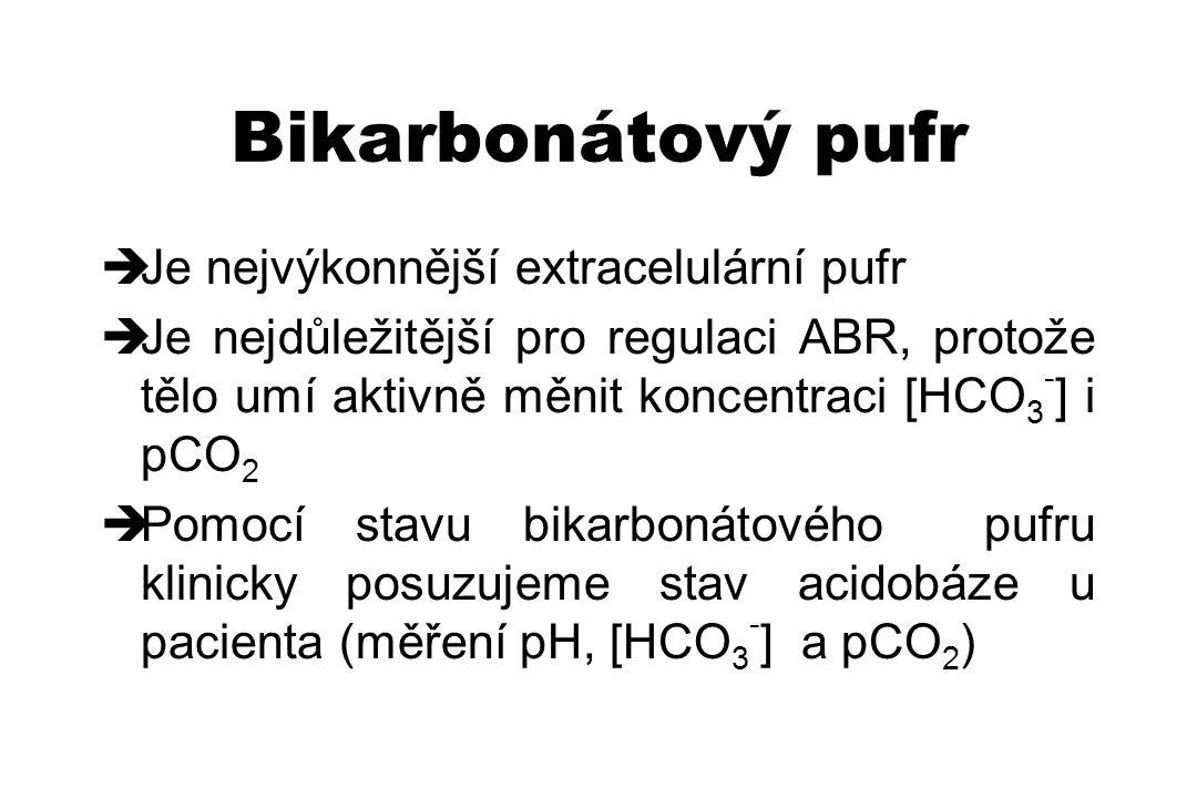 Bikarbonátový pufr  Je nejvýkonnější extracelulární pufr  Je nejdůležitější pro regulaci ABR, protože tělo umí aktivně měnit koncentraci [HCO 3 - ]