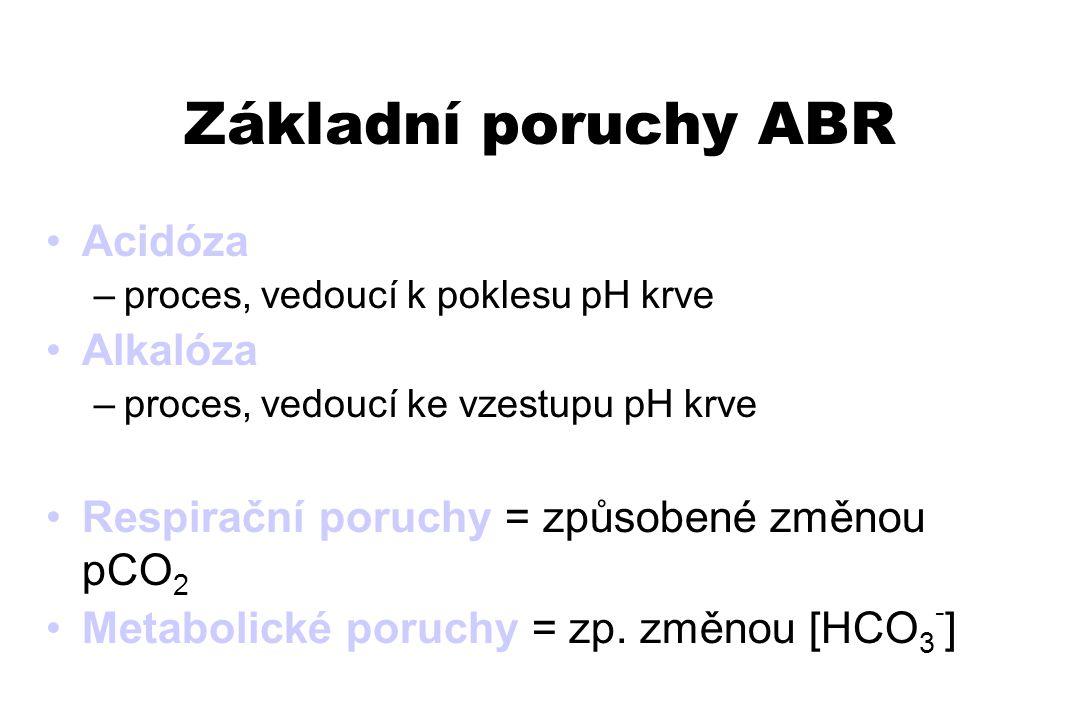 Základní poruchy ABR Acidóza –proces, vedoucí k poklesu pH krve Alkalóza –proces, vedoucí ke vzestupu pH krve Respirační poruchy = způsobené změnou pC