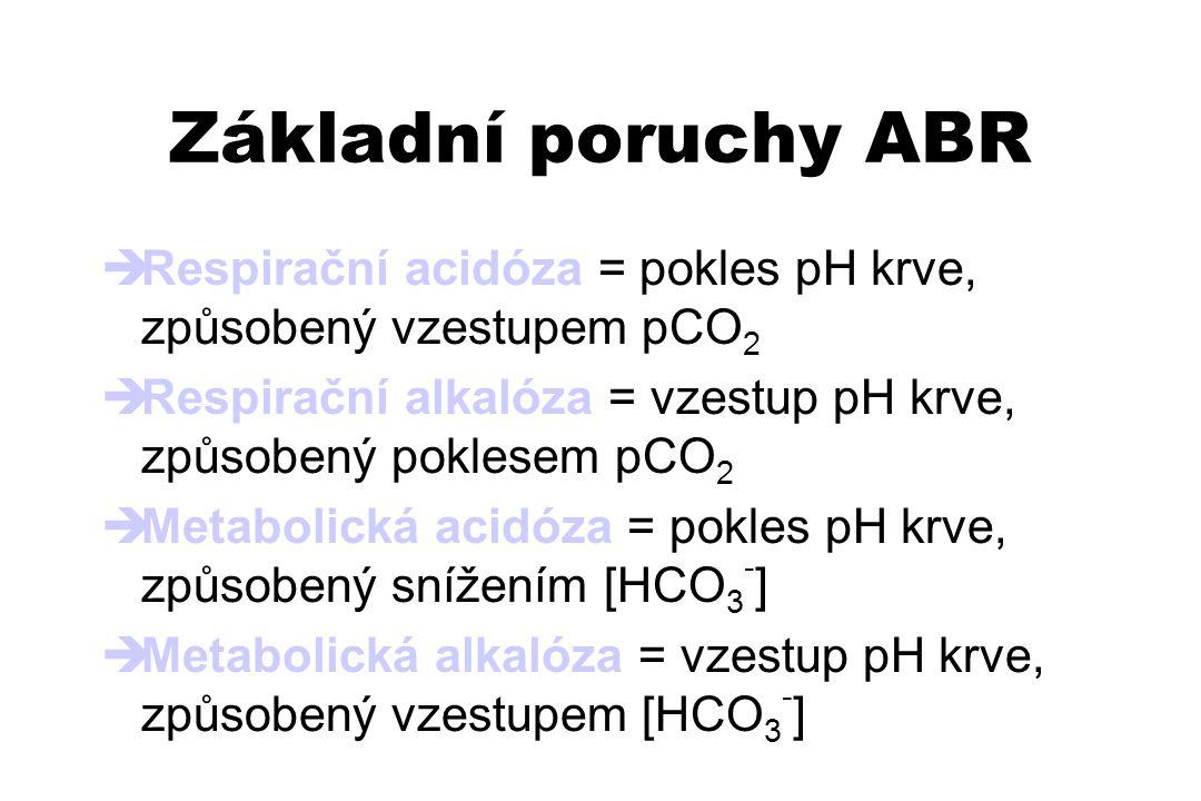 Základní poruchy ABR  Respirační acidóza = pokles pH krve, způsobený vzestupem pCO 2  Respirační alkalóza = vzestup pH krve, způsobený poklesem pCO