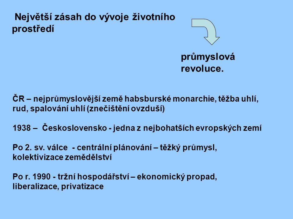 Největší zásah do vývoje životního prostředí ČR – nejprůmyslovější země habsburské monarchie, těžba uhlí, rud, spalování uhlí (znečištění ovzduší) 1938 – Československo - jedna z nejbohatších evropských zemí Po 2.