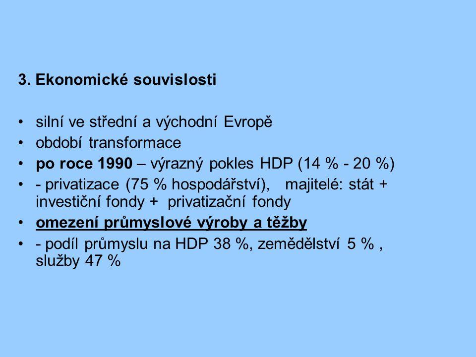 3. Ekonomické souvislosti silní ve střední a východní Evropě období transformace po roce 1990 – výrazný pokles HDP (14 % - 20 %) - privatizace (75 % h