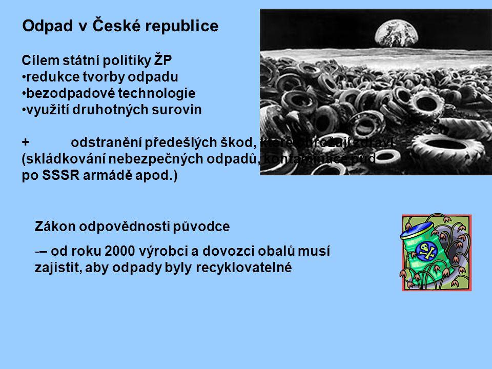 Cílem státní politiky ŽP redukce tvorby odpadu bezodpadové technologie využití druhotných surovin + odstranění předešlých škod, které ohrožují zdraví (skládkování nebezpečných odpadů, kontaminace půd po SSSR armádě apod.) Zákon odpovědnosti původce -– od roku 2000 výrobci a dovozci obalů musí zajistit, aby odpady byly recyklovatelné Odpad v České republice