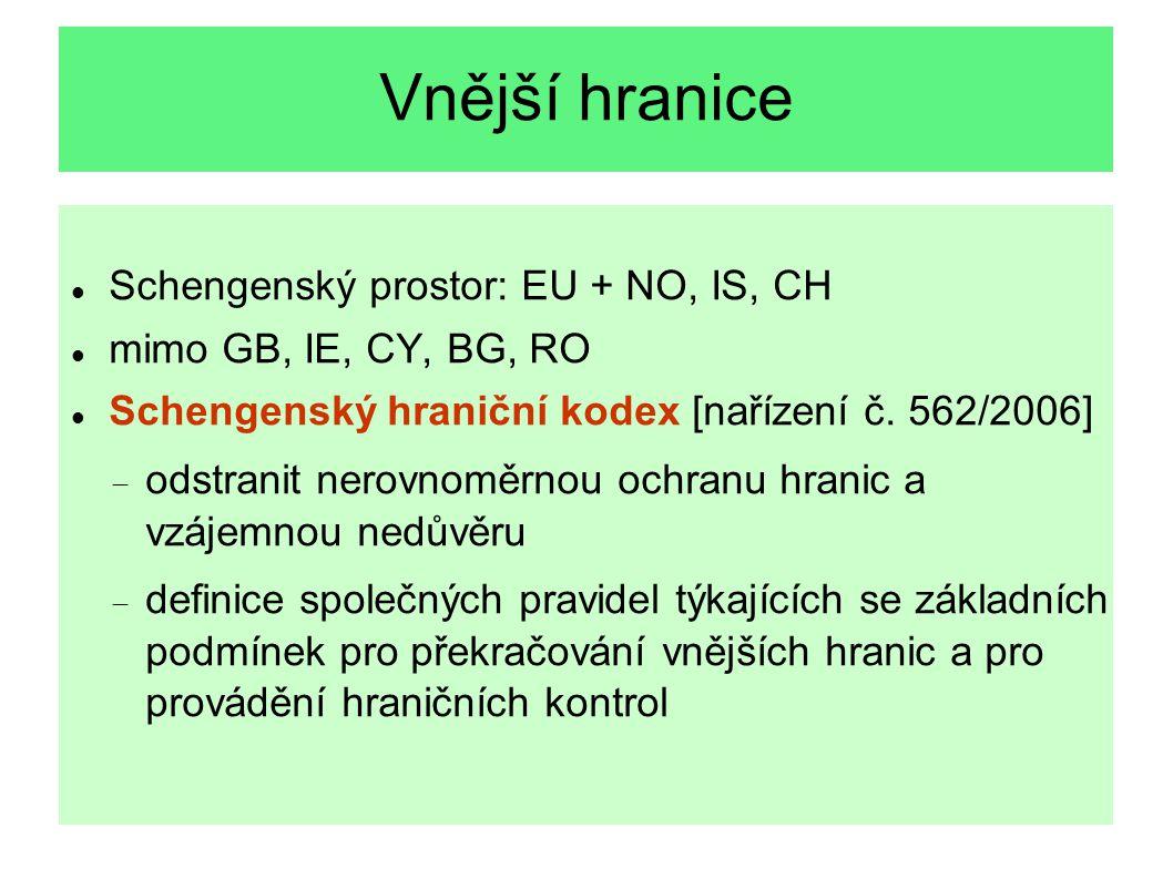 Vnější hranice Schengenský prostor: EU + NO, IS, CH mimo GB, IE, CY, BG, RO Schengenský hraniční kodex [nařízení č. 562/2006]  odstranit nerovnoměrno