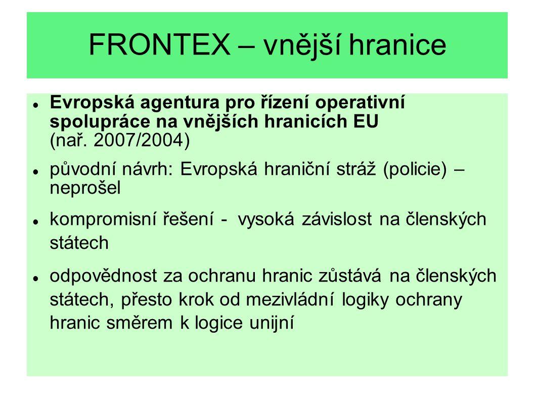 FRONTEX – vnější hranice Evropská agentura pro řízení operativní spolupráce na vnějších hranicích EU (nař. 2007/2004) původní návrh: Evropská hraniční