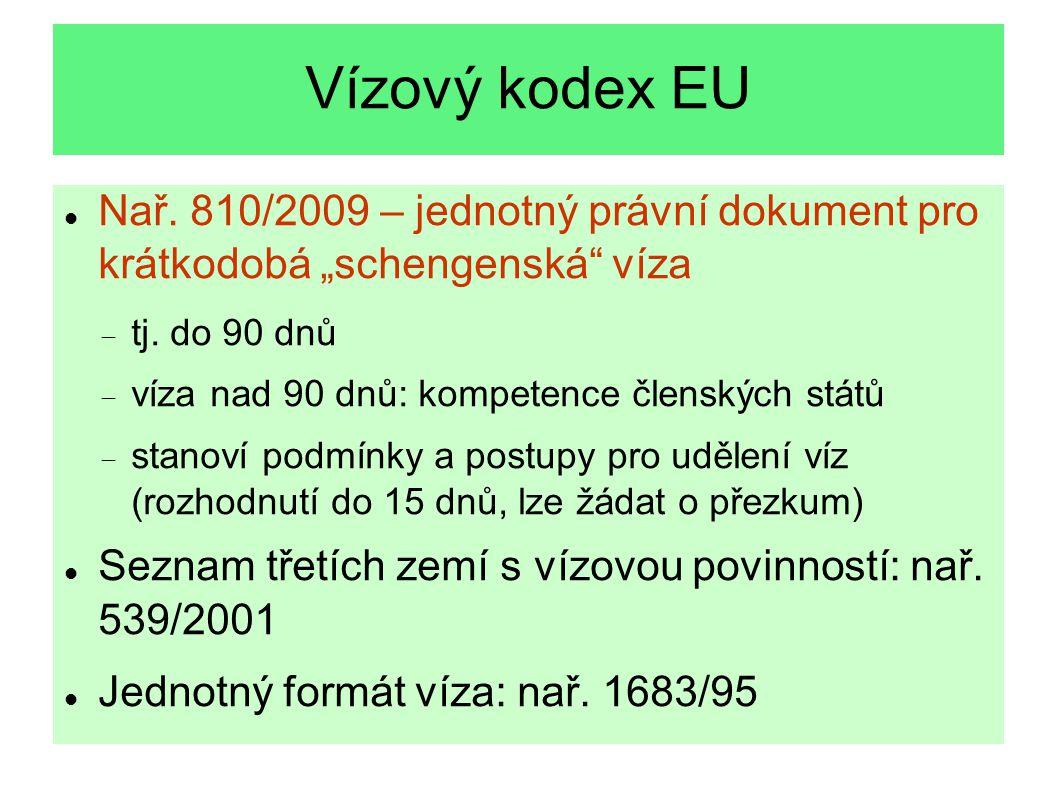 """Vízový kodex EU Nař. 810/2009 – jednotný právní dokument pro krátkodobá """"schengenská"""" víza  tj. do 90 dnů  víza nad 90 dnů: kompetence členských stá"""