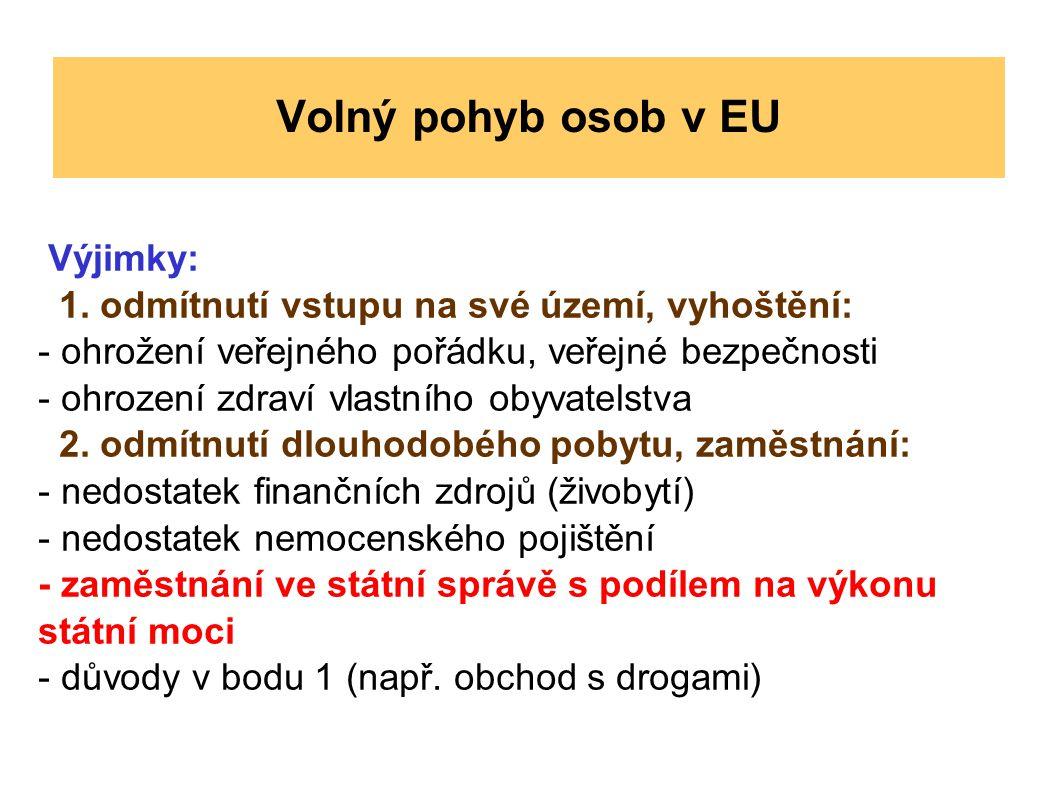 Volný pohyb osob v EU Výjimky: 1. odmítnutí vstupu na své území, vyhoštění: - ohrožení veřejného pořádku, veřejné bezpečnosti - ohrození zdraví vlastn