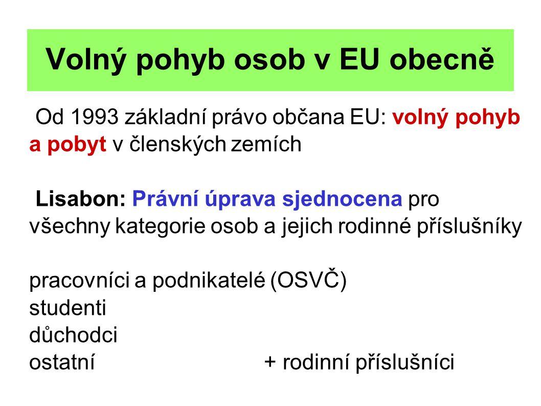 Volný pohyb osob v EU obecně Od 1993 základní právo občana EU: volný pohyb a pobyt v členských zemích Lisabon: Právní úprava sjednocena pro všechny ka