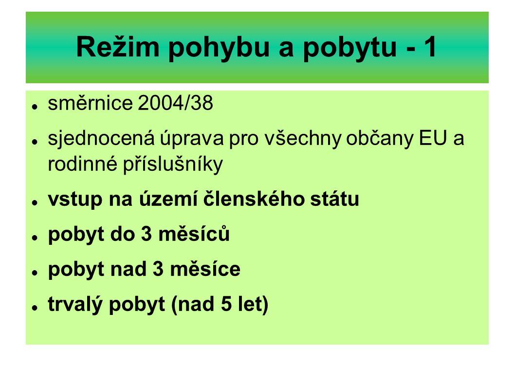 Režim pohybu a pobytu - 1 směrnice 2004/38 sjednocená úprava pro všechny občany EU a rodinné příslušníky vstup na území členského státu pobyt do 3 měs
