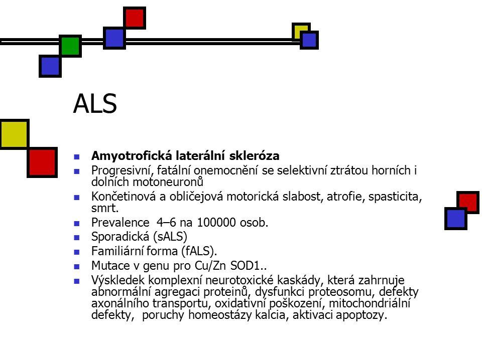 ALS Amyotrofická laterální skleróza Progresivní, fatální onemocnění se selektivní ztrátou horních i dolních motoneuronů Končetinová a obličejová motorická slabost, atrofie, spasticita, smrt.